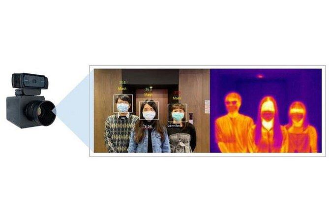 体表温度やマスクの有無を同時に複数人検知、顔認証も搭載のコロナ対策サービス